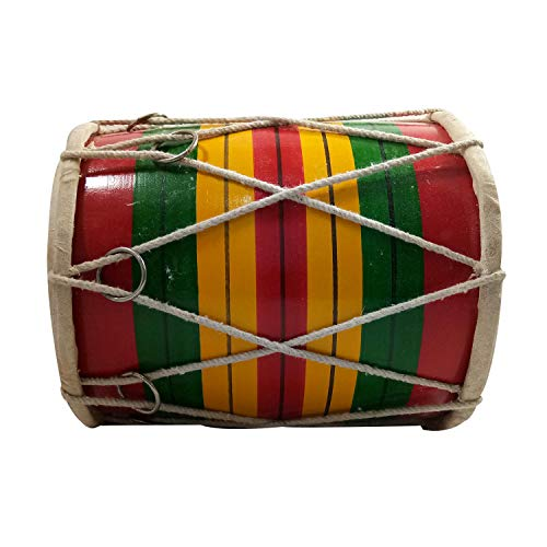India Meets India ChristmasDholak 8 inch for Kids Folk Instrument Handmade by Awarded Indian Artisan