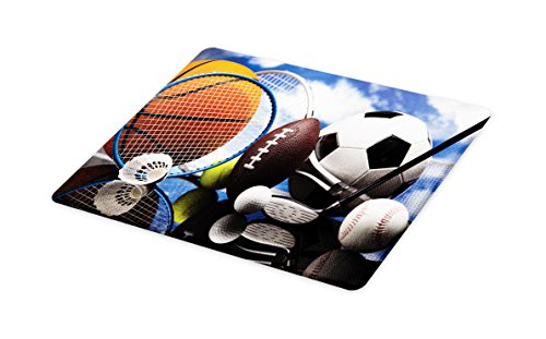 Lunarable Sports Cutting Board, Sports Equipment Football Soccer Darts Ice Hockey Baseball Basketball Theme, Decorative Tempered Glass Cutting and Serving Board, Large Size, Black Orange Blue by Lunarable