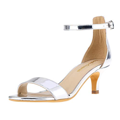 Women's Stiletto Open Toe Low Heel Sandal Ankle Strap High Heels 5CM Sandals Working Bridal Party Shoes Silver Size 6 .5