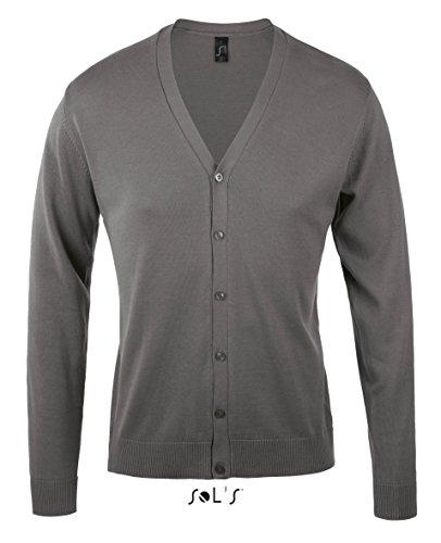 Golden Men V-Neck Knitted Cardigan - Farbe: Medium Grey - Größe: XL