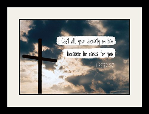1 Peter 5:7 Cast all your anxiety on him - Christian Poster, Print, Picture or Framed Wall Art Decor - Bible Verse Collection - Religious Gift for Holidays Christmas Baptism (19x25 Framed) by WeSellPhotos