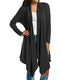 Women's Long Sleeve Draped Open Front Solid Spring Cardigan Sweater