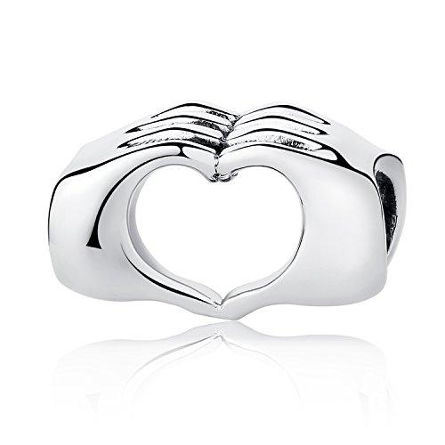 MUERDOU Dog Paw Charm Pink Enamel CZ Dangle Charms for Snake Chain Charms Bracelet Necklaces Jewelry (Dog paw Charm) (Heart Hand Charm)
