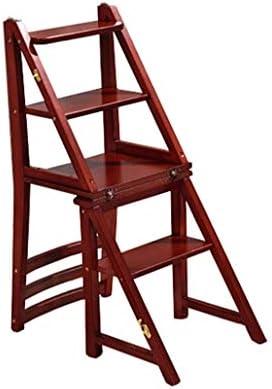 AJS Escalera De Madera De 4 Pasos Escalera De La Biblioteca Familiar | Escalera De Mano Escalera De Ático Escalera Plegable Liviana Escalera De Estante Taburete Plegable Portátil Para Granja De Casa: