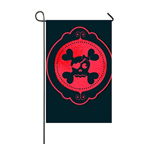 Lucy Curme Skull Red Garden Flag Double-sided, Polyester, Ya