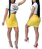 Women's 2 Pieces Outfit Short Sleeve Casual Crop Top Mini Dress Skirt Set Medium Yellow