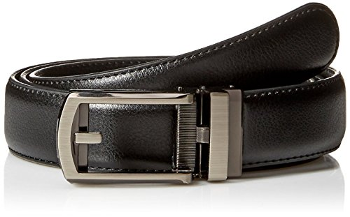 """Genuine Leather Belt with Brushed Chrome Buckle fits waist 28""""-48"""" with micro-adjustable 32-position ratcheting track system for custom fit"""