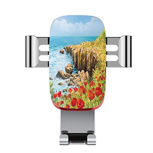(Metal automatic car phone holder,Flower,Coastal Seascape and Poppies on the Cliffs High Above the Bay Image Print,adjustable 360 degree rotation, car phone holder compatible with 4-6.2 inch smartphone)