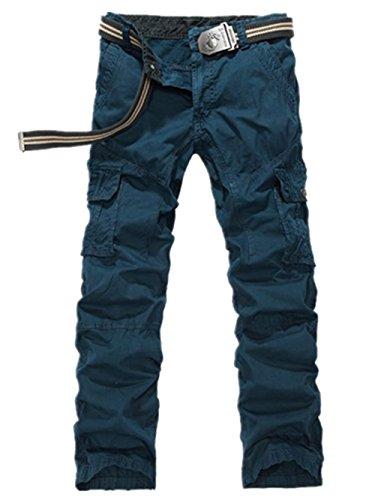 Y-JUN Men's Cotton Casual Military Army Cargo Camo Combat Pants-blue-36