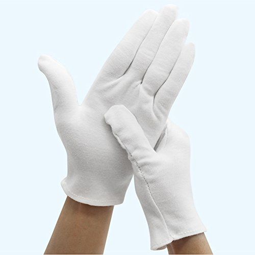 Bestgle White Gloves, 15 Pairs Soft Cotton Stretchable Work Glove for Coin Jewelry Silver Inspection, Doorman, Fire or Police Dress Glove Liner Uniform (Large) by Bestgle (Image #1)