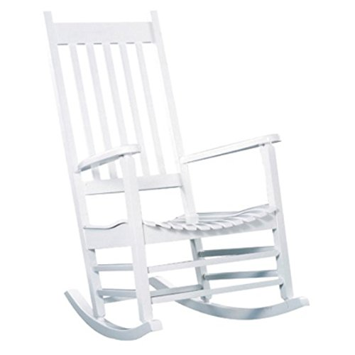 Premium Quality Patio Outdoor / Indoor Rocking Chair Wooden Furniture Chairs For Porch, Garden Deck, Beach Side And All Weather Seasons (White)