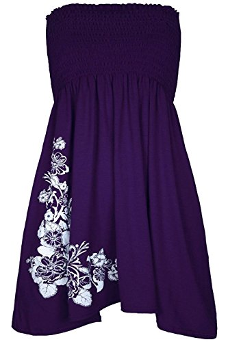 Bandeau Glitter Floral Strapless Purple Boobtube Womens Sharing Dress Ladies Swing Top fYB5dqwd