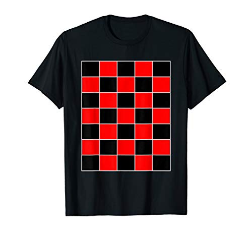 Funny Checkerboard Shirt Board Games Black & Red for Men -