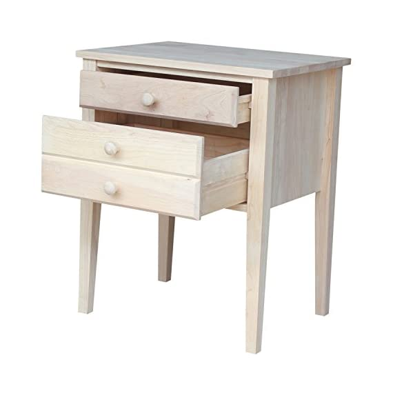 International Concepts OT-66 Accent Table with Drawers Unfinished - Made from solid parawood 2 Drawers Assembly required - living-room-furniture, living-room, end-tables - 4157DmpLbFL. SS570  -