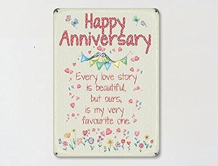Feliz aniversario cada historia de amor..., coloured metal imán ...