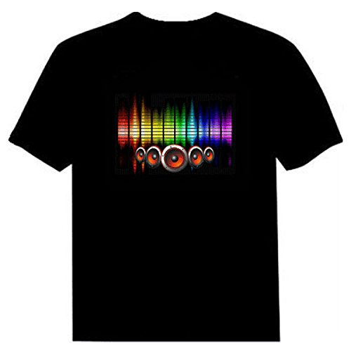 LED Flashing Shirt Sound Activated Fashion Black Cotton T-Shirt for Night Club Wear Party NightShow L