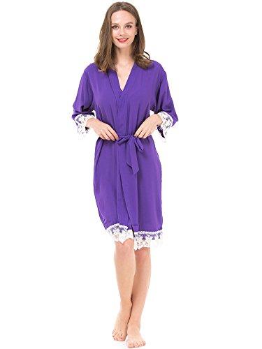 Mr & Mrs Right Women's Cotton Kimono Robe for Bride and Bridesmaid with Lace Trim Majestic Violet ()