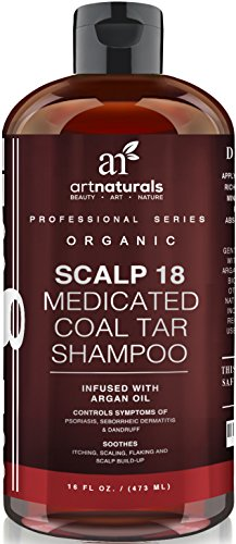 Art Naturals Dandruff Shampoo - 16 oz Coal Tar w/ Argan Oil - Scalp18 Therapeutic Treatment Helps Anti Itchy Scalp, Clear symptoms of Psoriasis, Eczema, - Natural & Organic, Sulfate Free - Made in USA