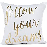 """Gold Follow Your Dreams Inspirational Quotes Throw Pillow Case Cushion Cover Cotton Linen 18"""" x 18"""" Inch for Sofa Couch"""