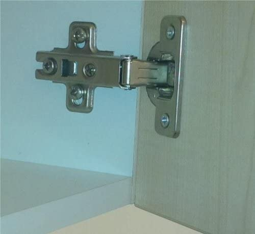 1 Pair of 35 mm Steel Brass Zinc Plated Sprung Cabinet Cupboard Door Sliding Slide on Hinges