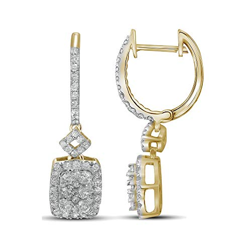 (Mia Diamonds 14kt Yellow Gold Womens Round Diamond Rectangle Dangle Hoop Earrings (.91cttw) (I1-I2))