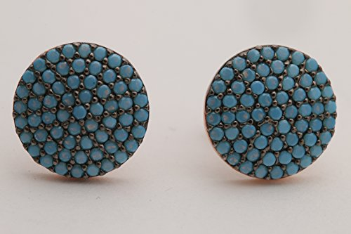 Round Shape Special Design Turkish Turquoise Handmade Jewelry 925 Sterling Silver Rose Gold Stud Earrings