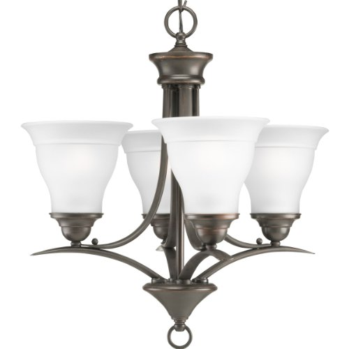Twenty Four Light Chandelier - Progress Lighting P4326-20 4-Light Chandelier with Etched Glass, Antique Bronze