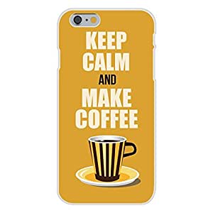 DaojieTM Generic Iphone 6 Plus 5.5 Inch Custom Case White Plastic Snap on - Keep Calm and Make Coffee Striped Mug