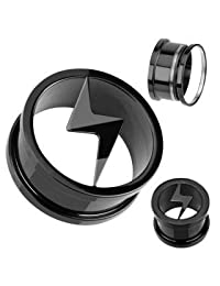 Earrings Rings Blackline Titanium Anodized Screw-Fit with Lightning Thunder Volt Logo Tunnel Plug 8mm - Sold as a pair