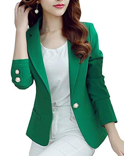 Grün Stile Coreana Button Lunga Women Ovest Monocromo Tailleur Da Autunno Modern Donna Manica Offlce Giacca Moda Coat Giovane Collo Outwear n7Hwavn1q