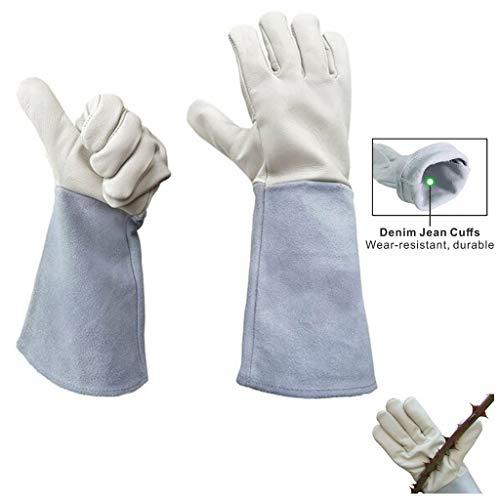 Premium Cowhide Leather Gauntlet - Sinoer Gardening Gloves Thornproof Rose Pruning Beekeeper Gauntlet Puncture Resistant-L