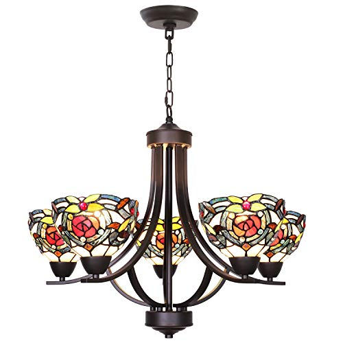 VINLUZ 5 Light Tiffany Chandeliers Lighting Victorian Antique 7-inch Stained Glass Shaded, Oil Rubbed Bronze Pendant Lights Traditional Ceiling Light Fixtures Hanging for Dining Room Bedroom