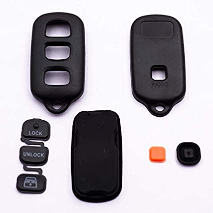 WBOY 4 Buttons Remote Entry Key Fob Cover Case Shell Replacement Compatible With Toyota Key Fob Cover Toyota 4Runner Sequoia 3B+Panic
