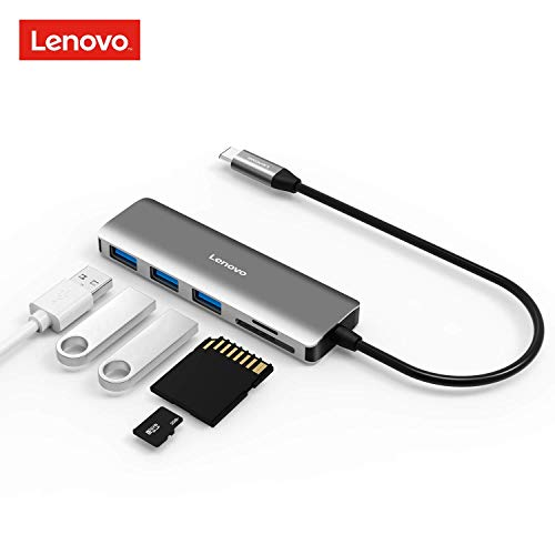 Lenovo USB C Hub, 5 In 1 Type C Adapter With 3 USB 3.0 Ports (5Gbps Transfer Speed), SD/TF Card Reader, Compatible For Type C Devices