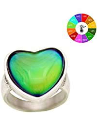 Antique Sterling Silver Plated Ring With Heart Shape Stone Color Change Mood Rings MJ-RS056