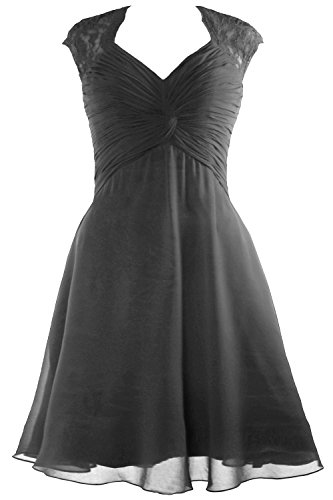 Short Chiffon Cap Dress 2017 Bridesmaid Lace Sleeve Grau MACloth Dress Cocktail Women 7Iwxn5Y8