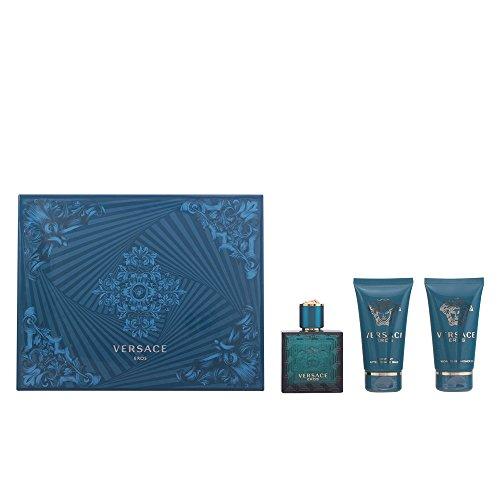 (Versace Eros Gift Set 1.7oz (50ml) EDT + 1.7oz (50ml) Aftershave Balm + 1.7oz (50ml) Shower Gel)