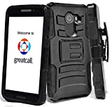 Phonelicious GreatCall Jitterbug Smart 2 Case Xtreme Armor [Heavy Duty] Hybrid Dual Layer Kickstand Belt [Holster Clip] Combo Rugged Tuff with Screen Protector & Stylus (Black)