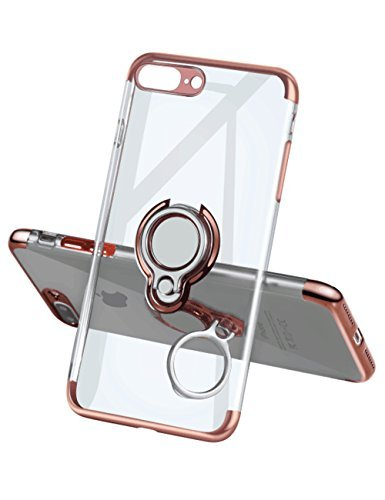 iPhone 7 Plus Case 8 Plus Case,Meetree Phone Cover Clear Slim Ultra Thin Case 360 Rotating Ring Grip Holder Stand Magnetic for Car Mount Shock Absorption Bumper Case for iPhone 7 Plus 8 Plus-Rose Gold