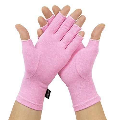 Vive Arthritis Gloves - Rheumatoid Compression Hand Glove for Men & Women - Osteoarthritis, Arthritic Joint, Computer Typing Pain Relief - Carpal Tunnel Wrist Support - Open Finger (Pink)