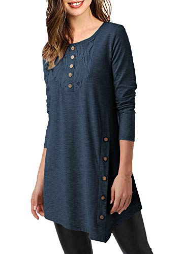 Mystry Zone Women's Shirts and Blouse Lace Buttons Neck Solid Color Tunics Blouse Navyblue Large by Mystry Zone (Image #2)