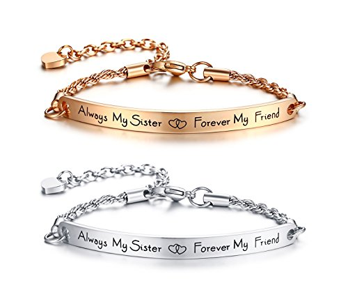 2 Pcs Stainless Steel Always My Sister Forever My Friend Engraved Bar Inspirational Bracelets Friendship Sister Jewelry