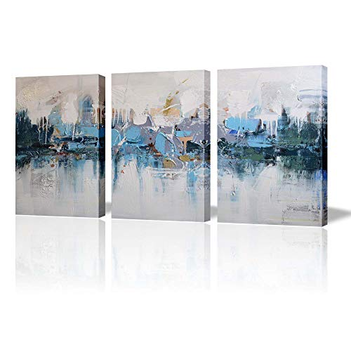- Artland Modern Framed Abstract Oil Painting Blue Villages 3-Piece Gallery-Wrapped Wall Art on Canvas Ready to Hang for Living Room for Wall Decor Home Decoration 16x36inches