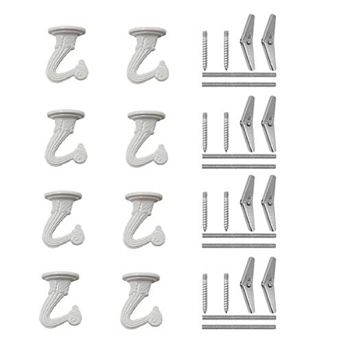 8 Sets Swag Ceiling Hooks and Hardware, Nydotd Swag Hooks with Steel Screws/Bolts and Toggle Wings Heavy Duty for Hanging Plants Ceiling Installation Cavity Wall Fixing White