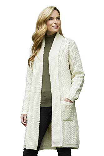 Aran Crafts Merino Wool Edge to Edge Knit Coat MED Natural (SH4788-MED-NAT) ()