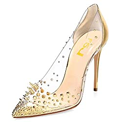 Gold-4 Studded Pointed Toe Transparen Heels with Bowknot