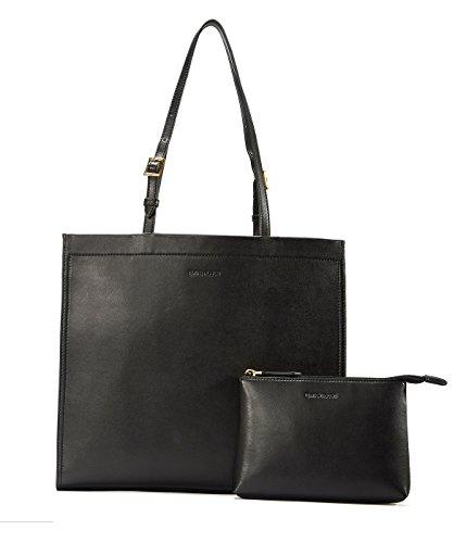 EMINI HOUSE Stylish Tote Handbag Leather Women Handle Bag with Pack of 2-Black
