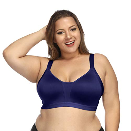 Women's Plus Size Coverage Bra Seamless Active Lifestyle Full Coverage Bra Blue