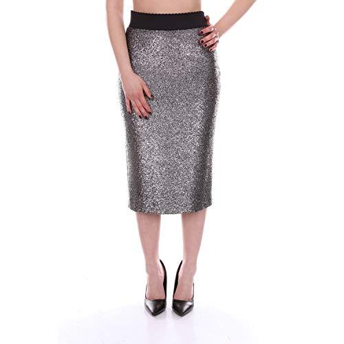Boutique Moschino Women's A010361181610 Silver Acrylic Skirt