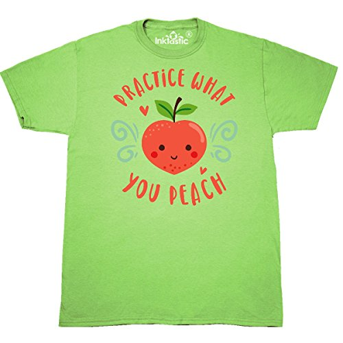 Inktastic - Practice What You Peach T-Shirt X-Large Key Lime